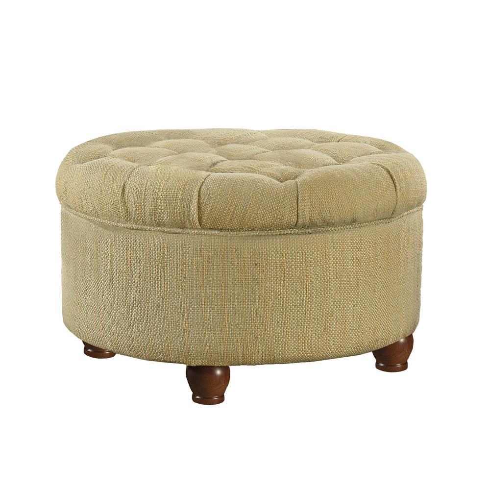 Enjoyable Homepop Round Tan And Cream Tweed Tufted Storage Ottoman Theyellowbook Wood Chair Design Ideas Theyellowbookinfo