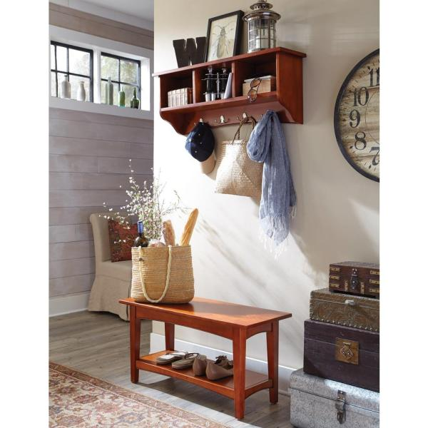 Alaterre Furniture Shaker Cottage Cherry Hall Tree with Storage ASCA030460