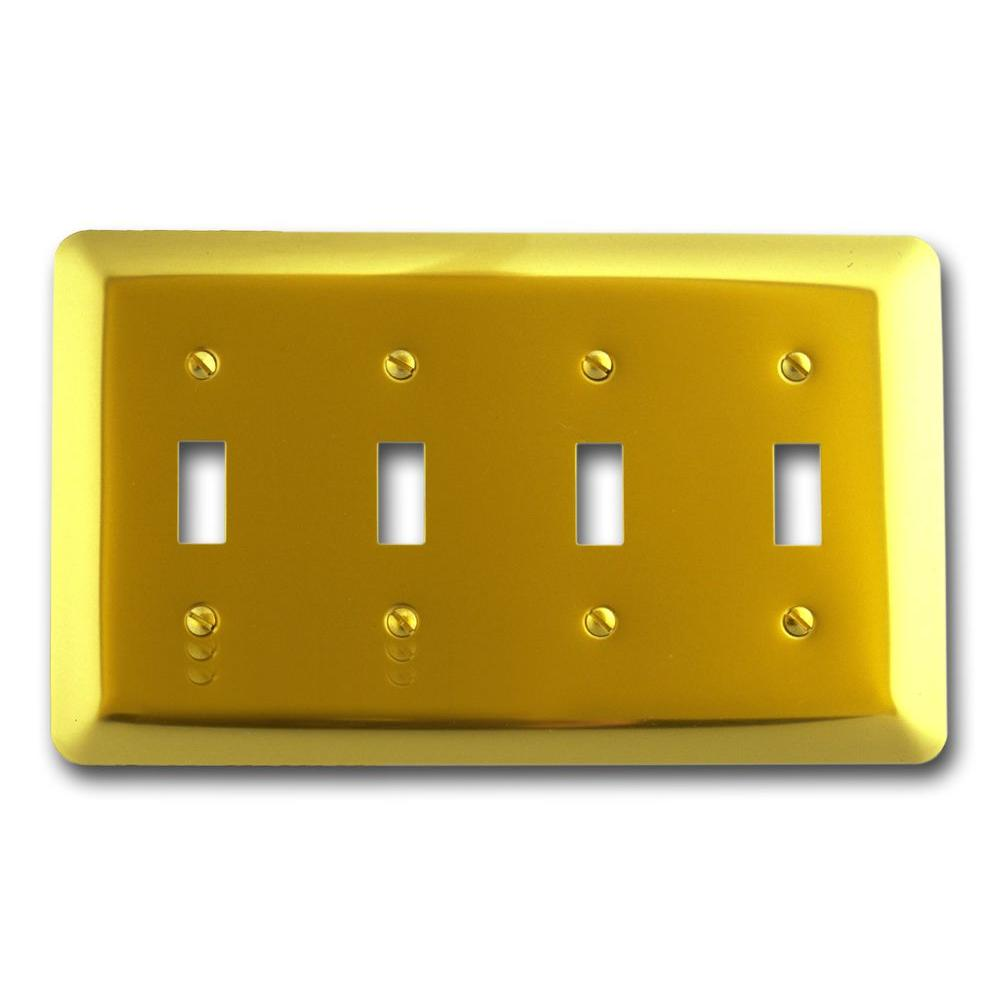 Amerelle Steel 4 Toggle Wall Plate - Bright Brass-155T4 - The Home ...