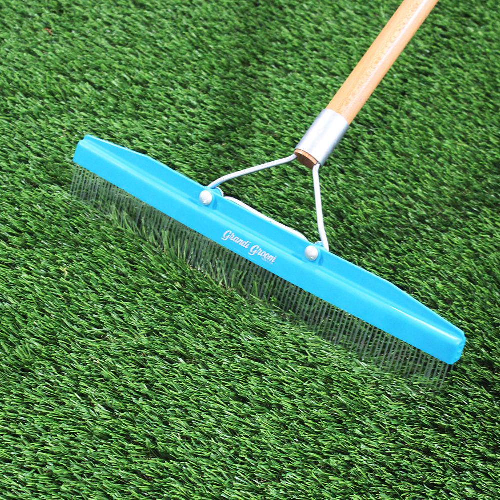 RealGrass Synthetic Grass Turf Rake with 5 ft  Handle