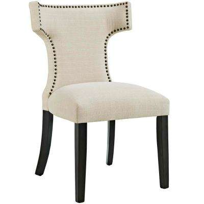 Curve Beige Fabric Dining Chair