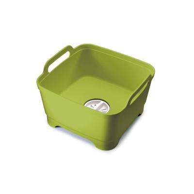 Wash and Drain Dishwashing Bowl with Straining Plug in Green