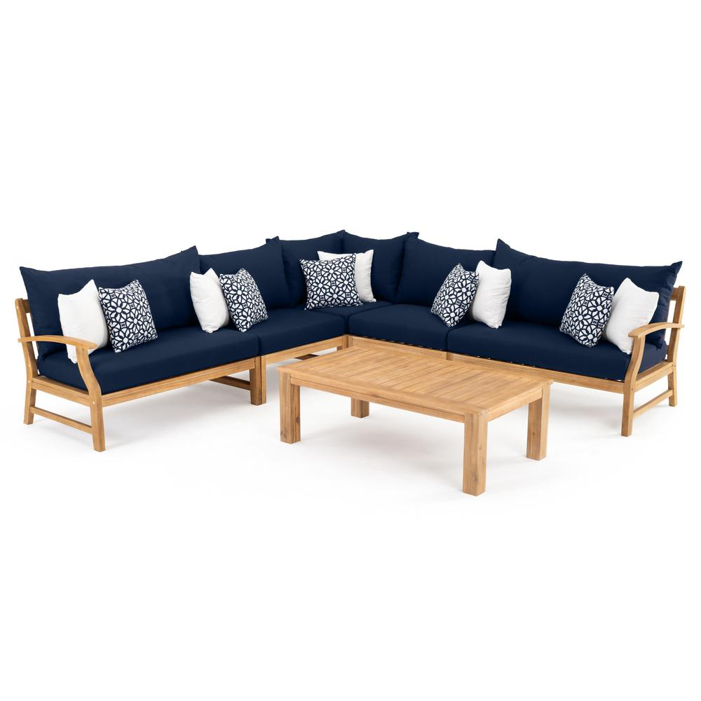 Tremendous Rst Brands Kooper 6 Piece Wood Outdoor Sectional Set With Sunbrella Navy Blue Cushions Pabps2019 Chair Design Images Pabps2019Com