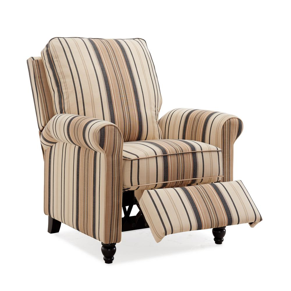 Brown and Black Stripe Woven Fabric Push Back Recliner Chair