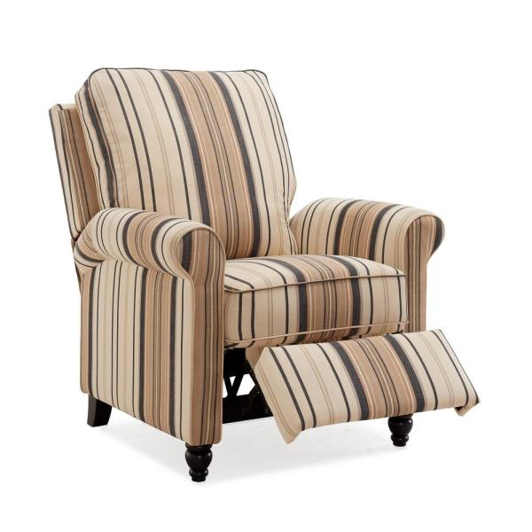 ProLounger Brown and Black Stripe Woven Fabric Push Back Recliner Chair
