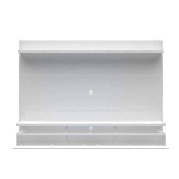 City 87 in. White Gloss Composite Floating Entertainment Center Fits TVs Up to 80 in. with Wall Panel