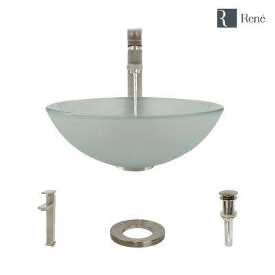 Glass Vessel Sink in Frosted with R9-7003 Faucet and Pop-Up Drain in Brushed Nickel