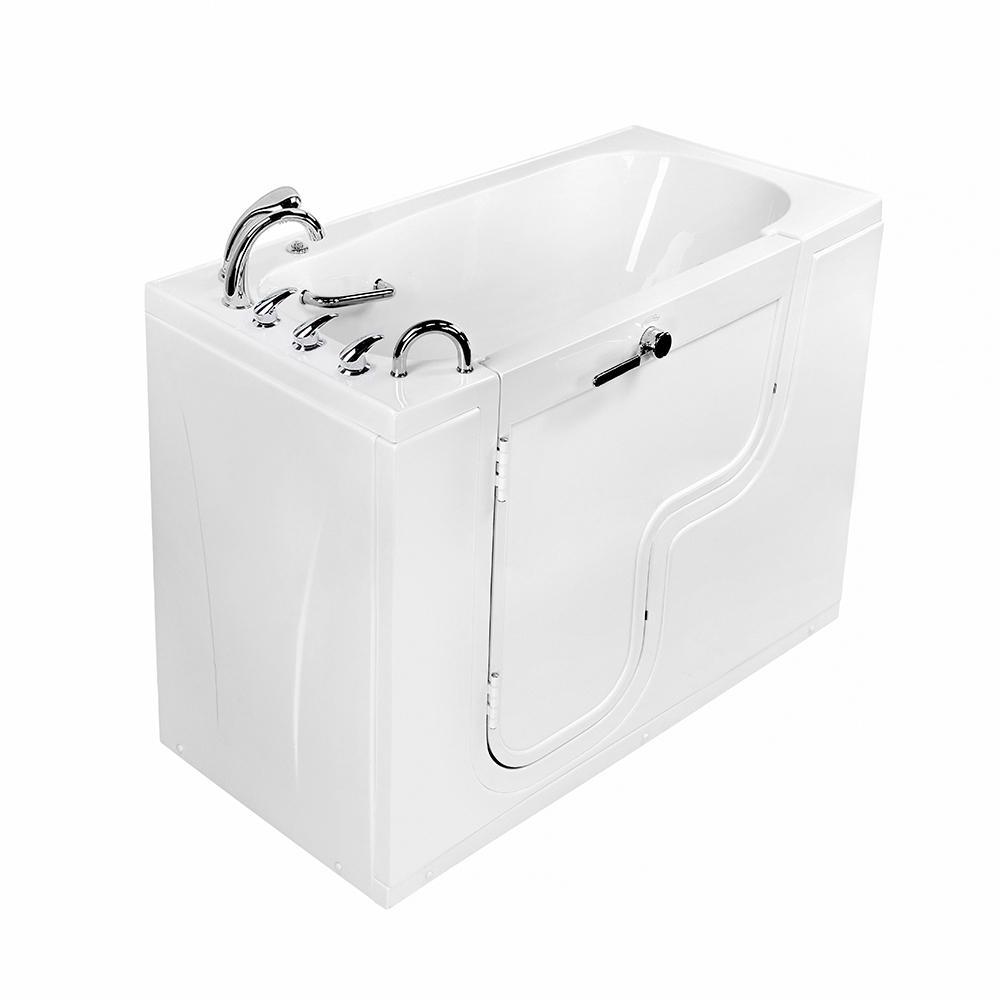 Wheelchair Transfer 60 in. Acrylic Walk-In MicroBubble Air Bath Bathtub in White with Faucet Set, Left 2 in. Dual Drain