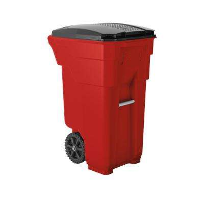32 Gal. Red Plastic Curbside Commercial Trash Can with Wheels And Attached Lid