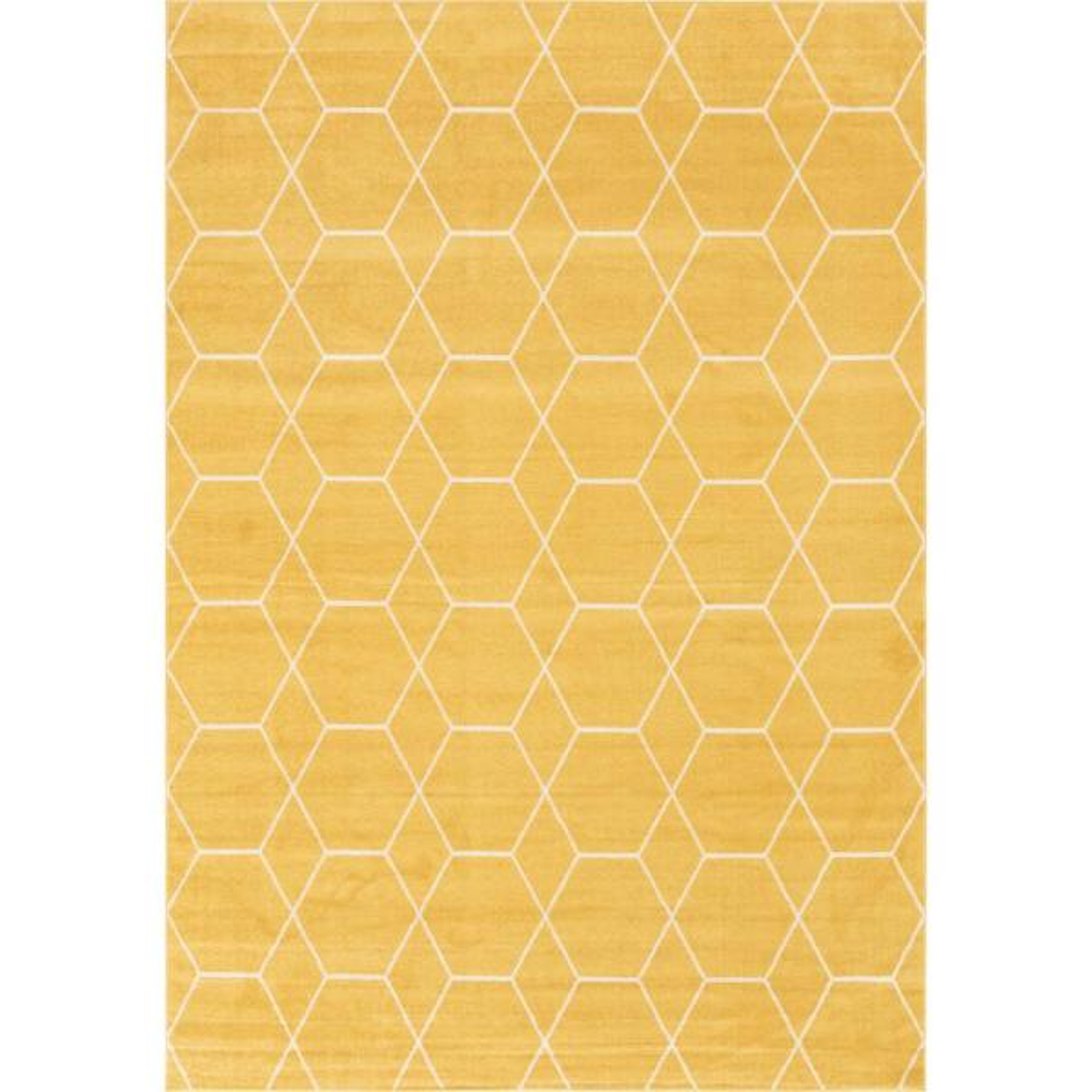 Trellis Frieze Yellow/Ivory 10 ft. x 14 ft. Geometric Area Rug