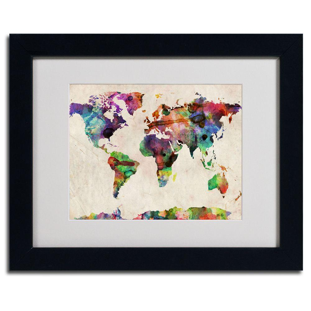 Trademark Fine Art 11 in. x 14 in. Urban Watercolor World Map Matted Framed