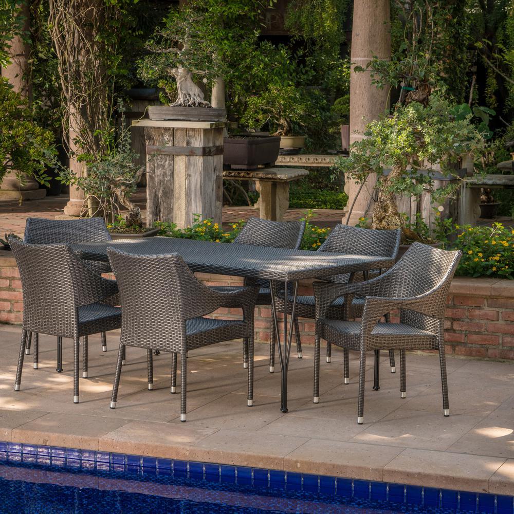 Colt Grey 7-Piece Wicker Outdoor Dining Set