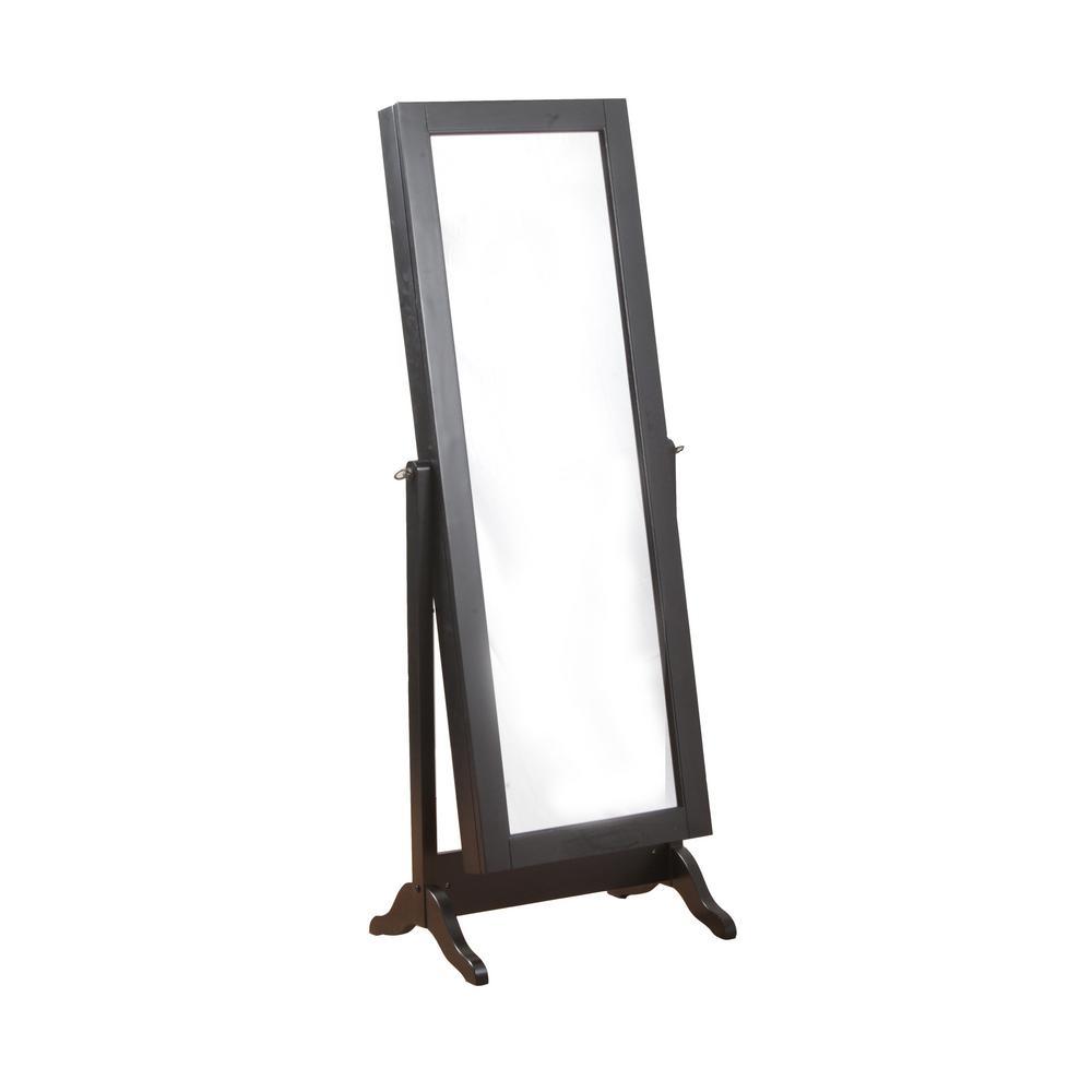 Black Sliding Jewelry Armoire with Mirror