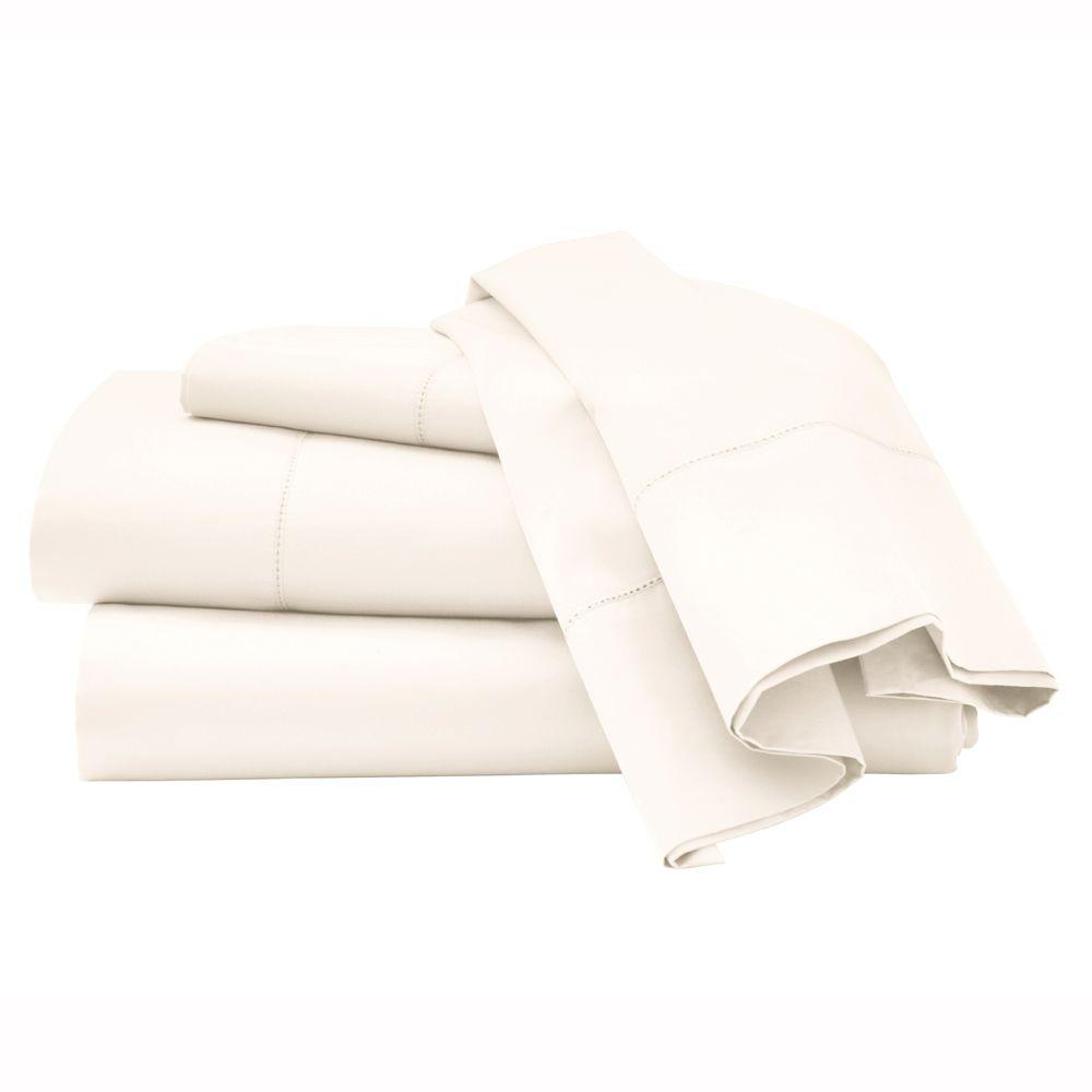 Home Decorators Collection Hemstitched Nano White Queen Sheet Set