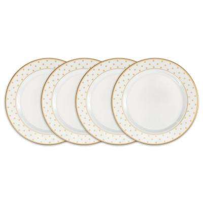 Moonbeam 4-Piece Gold Melamine 8 in. Dots Salad Plate Set