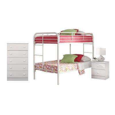 Classic White Collection 193K3TT 3-Piece White Twin Bedroom Set