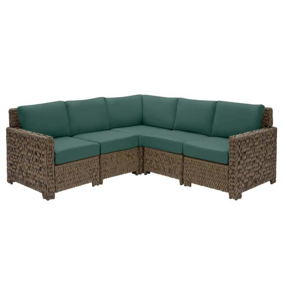Laguna Point Brown 5-Piece Wicker Outdoor Patio Sectional Sofa Set with CushionGuard Charleston Blue-Green Cushions
