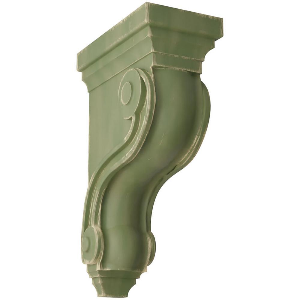 3 3/8 in. x 10-1/2 in. x 6-1/2 in. Restoration Green Boston Traditional Scroll Wood Vintage Decor Corbel
