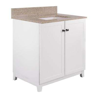 30 in. x 21 in. x 33 in. 2-Door Bath Vanity in White with Golden Sand Granite Vanity Top with Rectangle Basin in White