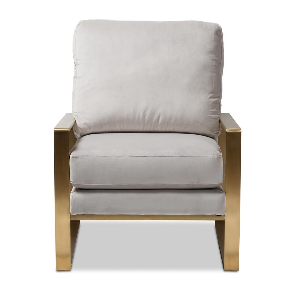 Baxton Studio Mietta Gray Fabric Upholstered Lounge Chair 146-8327-HD