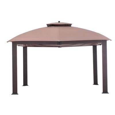 Bayside 10 ft. x 12 ft. Brown Woven Panel Gazebo with 2-Tier Brown Canopy