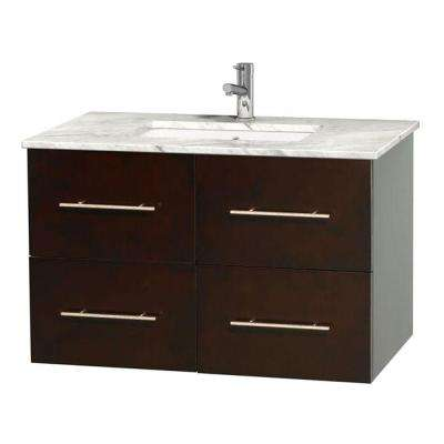 Centra 36 in. Vanity in Espresso with Marble Vanity Top in Carrara White and Undermount Sink