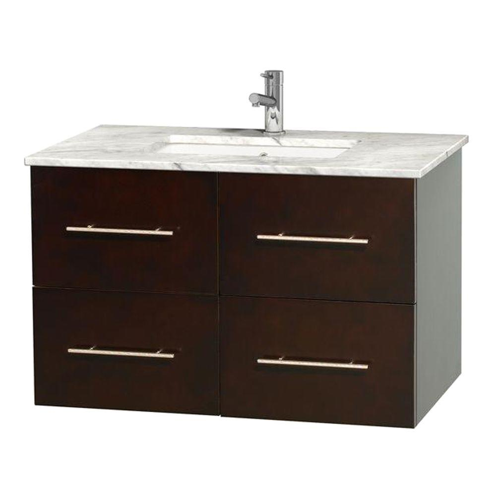 Basin Vanity With Top : Wyndham collection centra in vanity espresso with