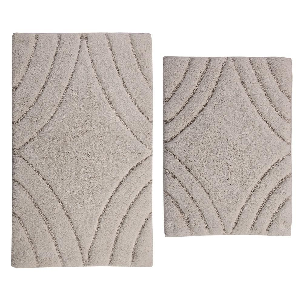 17 In. X 24 In. And Ivory 21 In. X 34 In. Diamond Bath Rug Set (2 Piece)