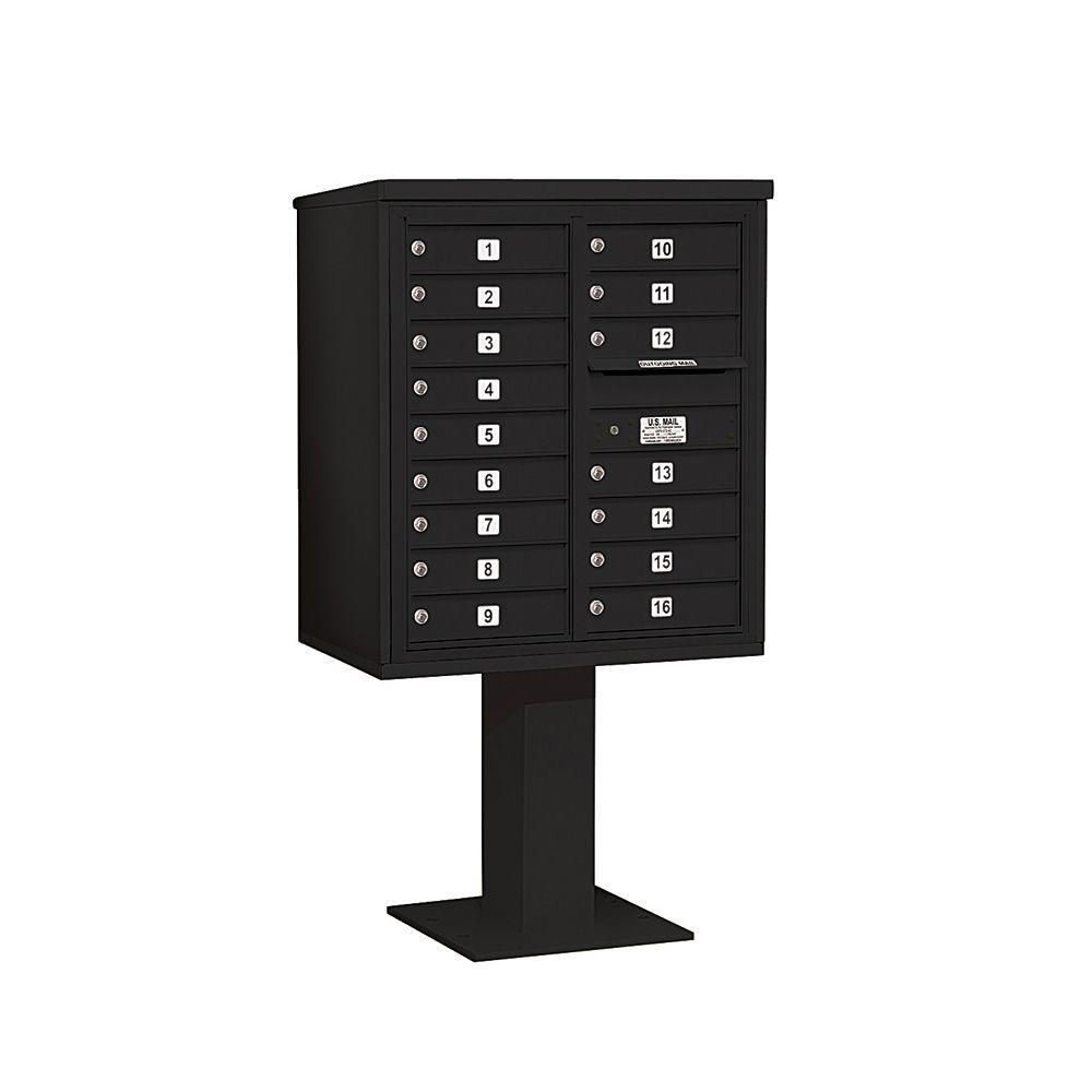 3400 Series 62-1/8 in. 9 Door High Unit Black 4C Pedestal Mailbox with 16 MB1 Doors