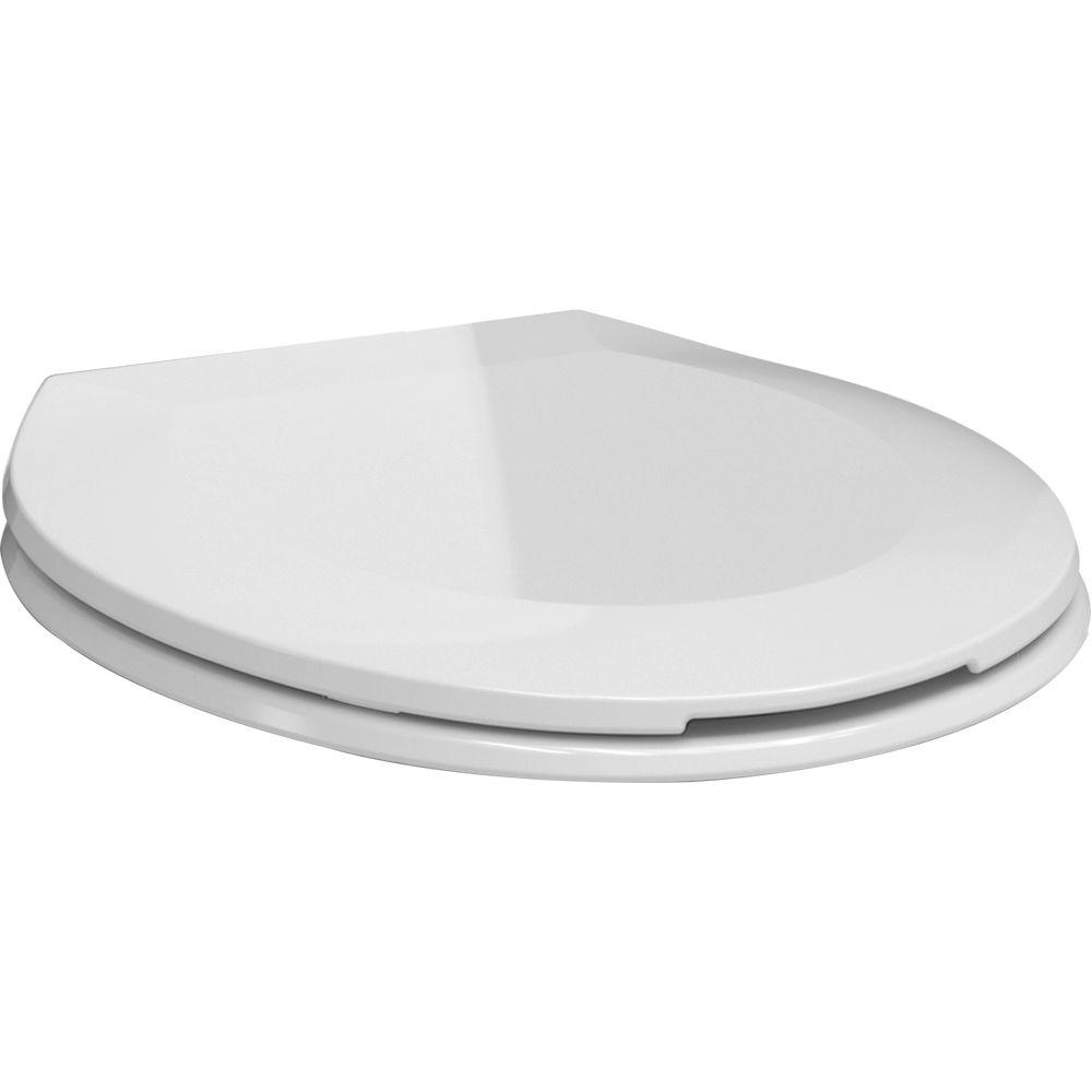 Delta Brevard FlushIQ Round Closed Front Toilet Seat in White