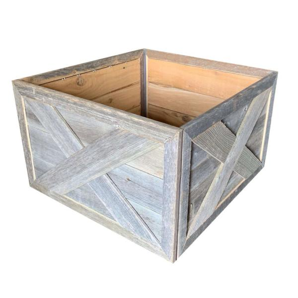 Farmhouse Deluxe 17.5 in. W x 11.5 in. H, 24 in. Dia, Weathered Gray Decorative Christmas Tree Box Collar