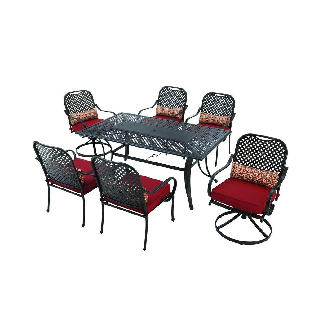 Fall River 7 Piece Patio Dining Set With Chili Cushion