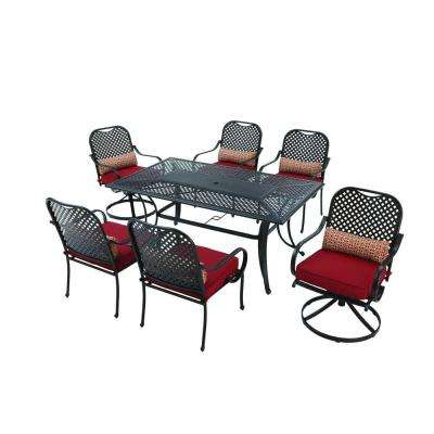 Fall River 7-Piece Patio Dining Set with Chili Cushion
