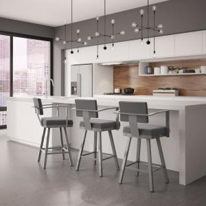 Remarkable Akers 26 In Glossy Grey Metal Light Cold Grey Polyester Counter Stool Creativecarmelina Interior Chair Design Creativecarmelinacom