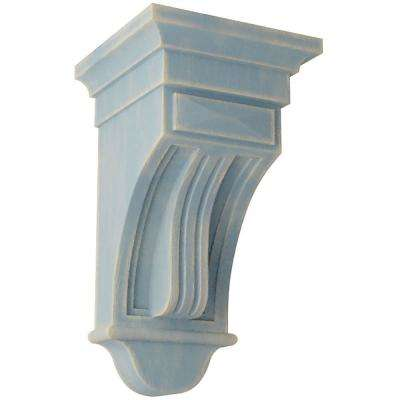 6-1/2 in. x 12 in. x 6-1/2 in. Driftwood Blue Raised Fluting Wood Vintage Decor Corbel