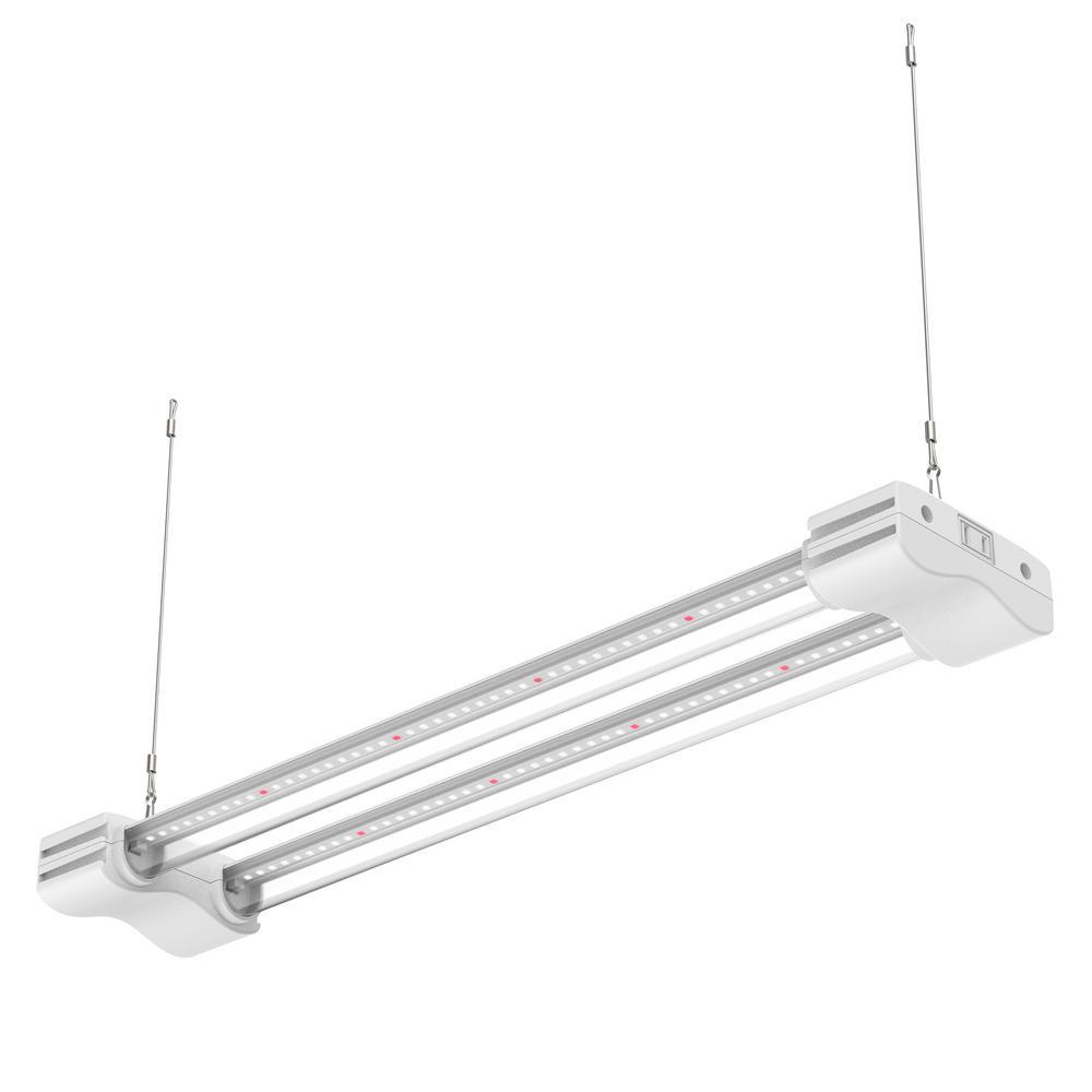 2 ft. 2-Light 20-Watt White Grow Light Full Spectrum Non-Dimmable Linkable Indoor LED Plant Fixture 5000K Daylight