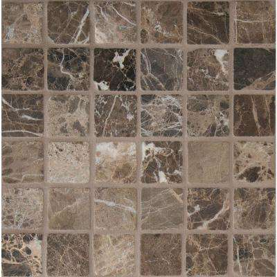 Emperador Dark 12 in. x 12 in. x 10mm Tumbled Marble Mesh-Mounted Mosaic Tile (10 sq. ft. / case)