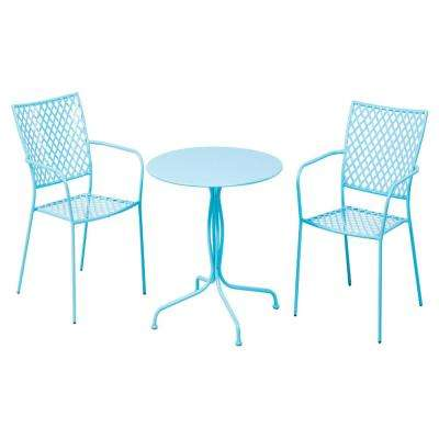 3-Piece Martini Metal Bistro Set in Sky Blue Finish with 27.5 in. Round Bistro Table and 2 Stackable Bistro Chairs