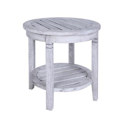 Alston White Wash Wood Outdoor Side Table