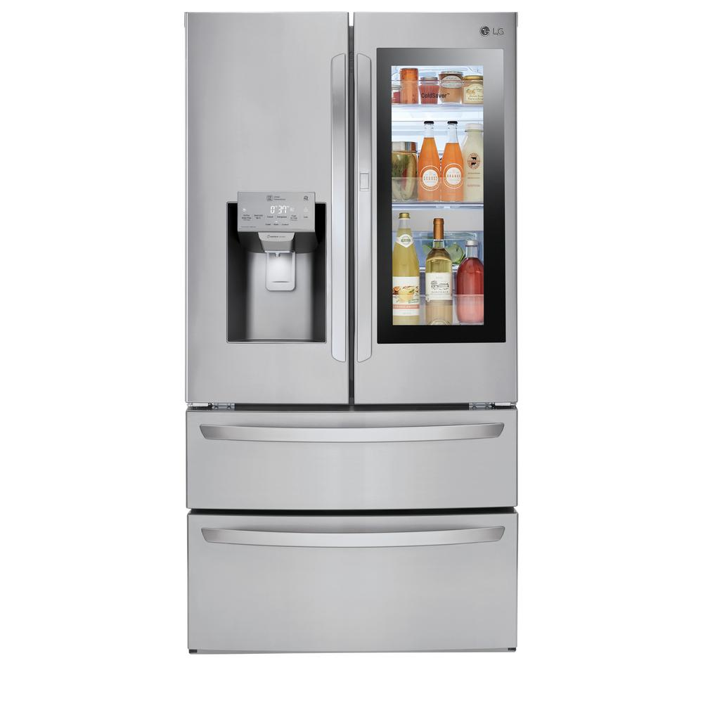 LG Electronics 28 cu  ft  4-Door Smart Refrigerator with InstaView  Door-in-Door in Stainless Steel