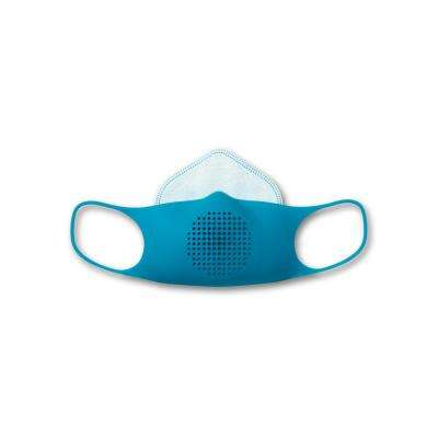 Kids Silicone Reusable Face Mask Kit with 5 Disposable Filters and Clip, Blue Raspberry