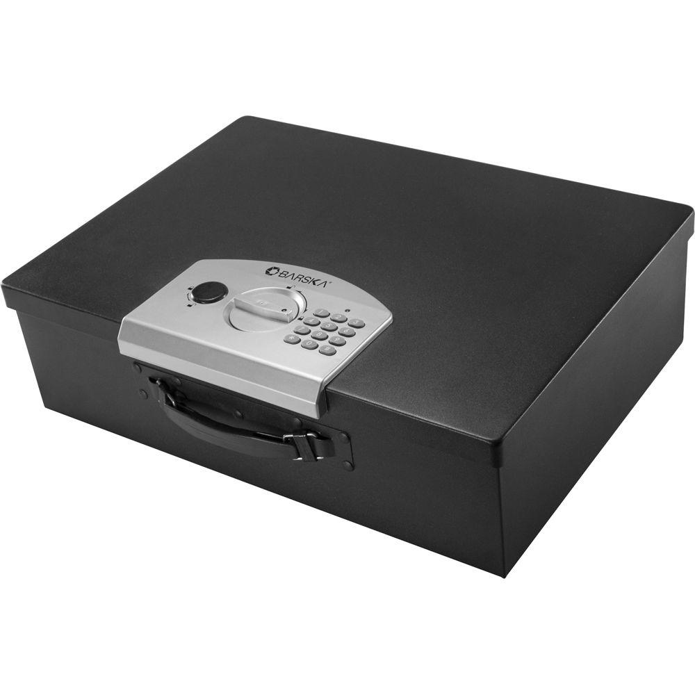 0.63 cu. ft. Steel Safe Digital Portable Keypad Lock Box, Black