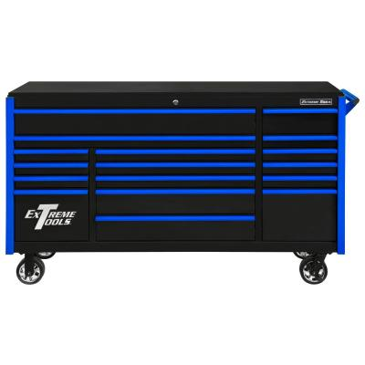 DX Series 72 in. 17-Drawer Roller Cabinet Tool Chest with Mag Wheels in Black with Blue Drawer Pulls
