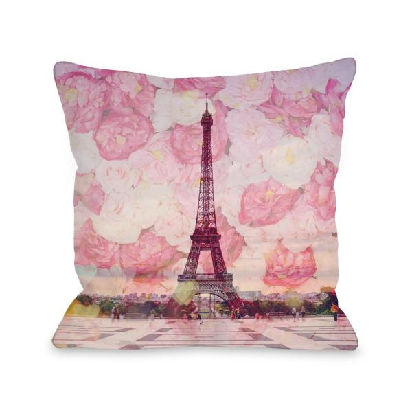 La Tour Eiffel Pink Graphic Polyester 16 in. x 16 in. Throw Pillow