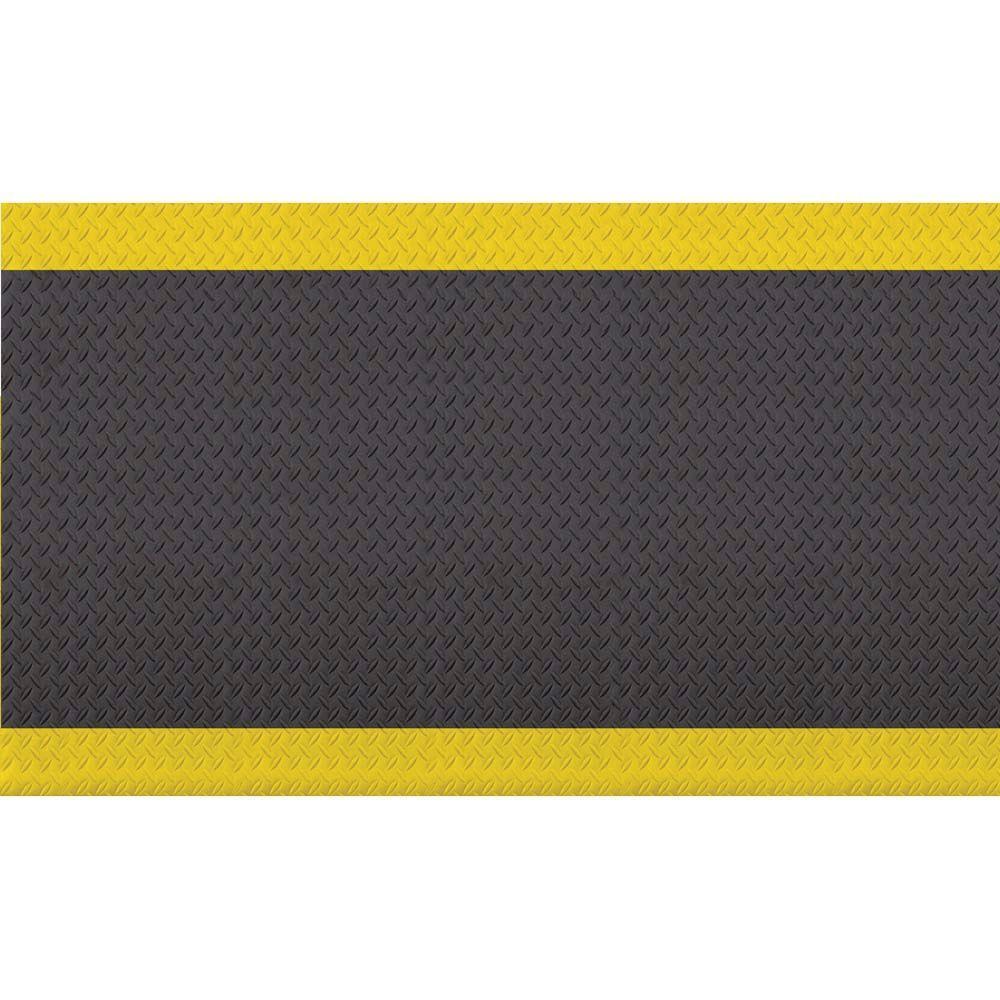 Diamond Soft Black/Yellow 36 in. x 60 in. Foam Safety Mat
