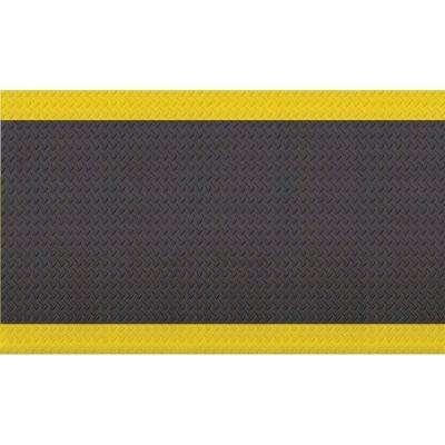 Diamond Soft Black/Yellow 36 in. x 60 in. Foam Safety Mat