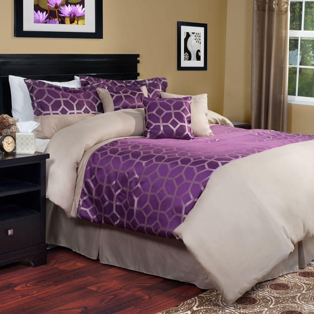 marvelous Purple Queen Size Comforter Part - 3: Lavish Home Aria 7-Piece Purple Queen Comforter Set