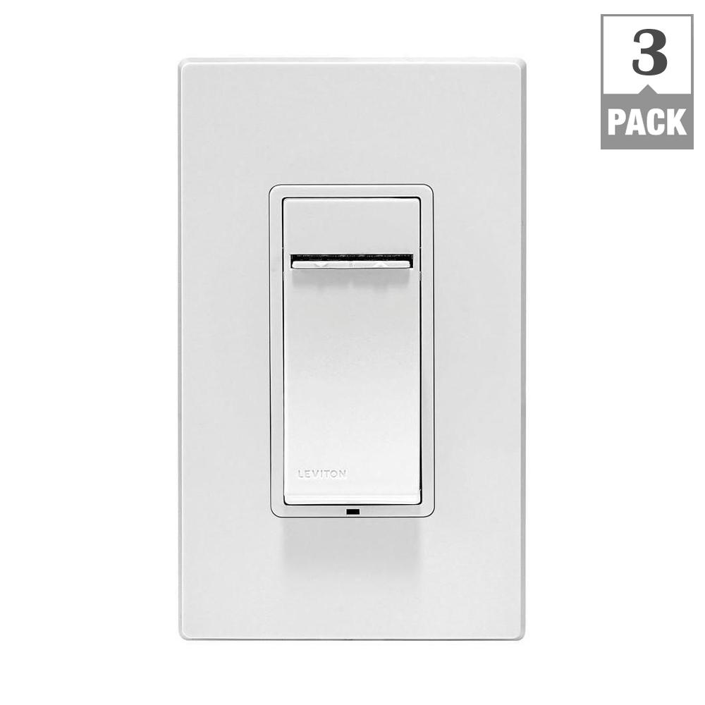 Leviton Decora Z-Wave Controls 3-Way/Remote Scene Capable Locator Universal LED Dimmer, White/Ivory/Light Almond (3-Pack)