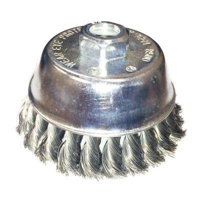 3-1/2 in. x 5/8 in.-11 Threaded Arbor Twist Stainless Steel Cup Brush 0.02 in. Wire