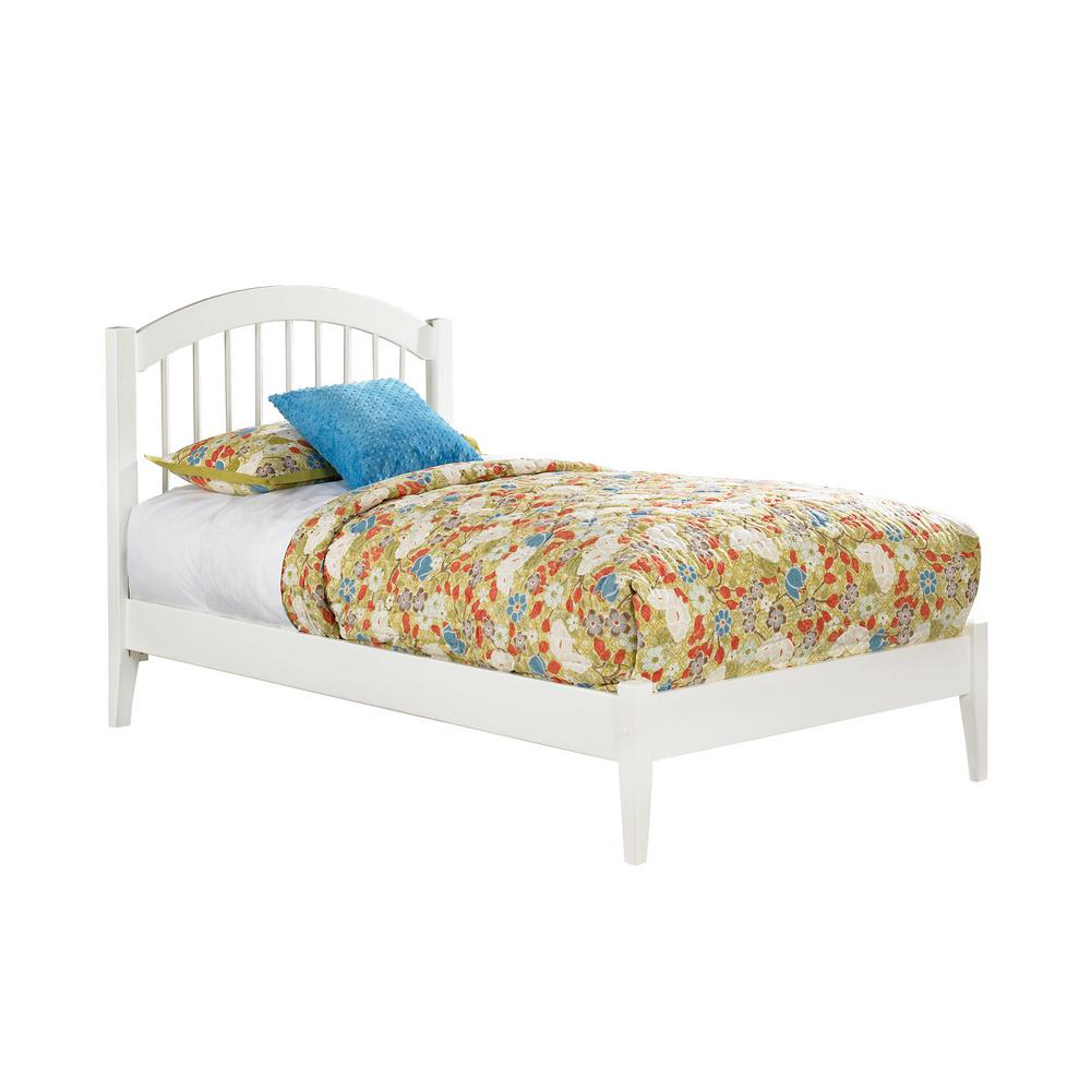 Windsor twin platform bed with open foot board in white
